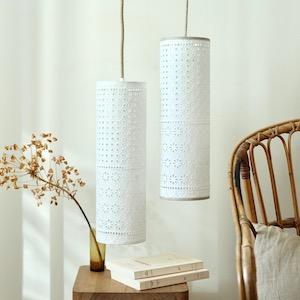 lampes baladeuses chambre déco blanche naturelle