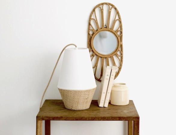 lampe à poser baladeuse blanche rabane