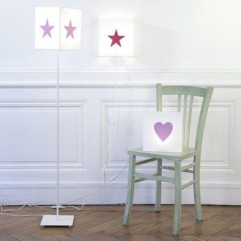 Lampe de chevet coton blanc étoile pailletée