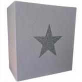 Applique coton gris étoile argent pailleté