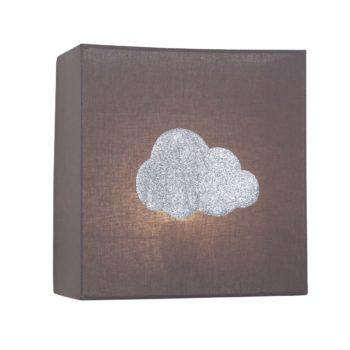 Applique coton taupe nuage argent pailleté