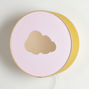Applique moutarde et rose nuage or biais beige
