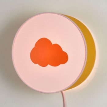 Applique moutarde et rose nuage orange pastel