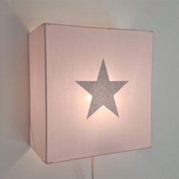 Applique coton rose pâle étoile argent pailleté