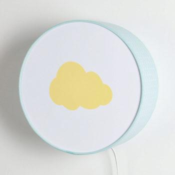 Applique vagues bleu clair nuage jaune pastel