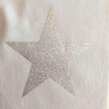 Lampe à poser coton gris étoile argent pailleté