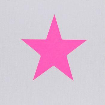 Lampe à poser coton gris étoile rose fluo
