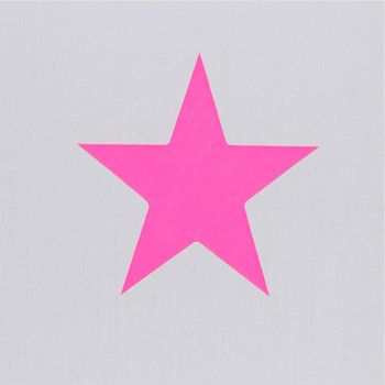 Plafonnier coton gris étoile rose fluo