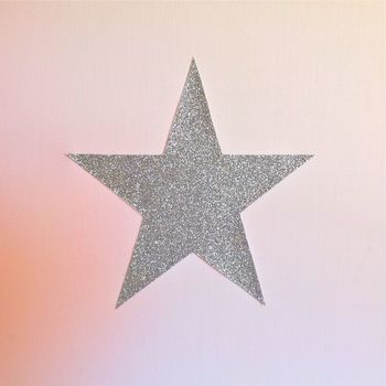 Lampe à poser coton rose pâle étoile argent pailleté