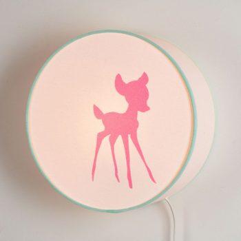 Lampe à poser ou à accrocher blanche faon rose bonbon