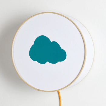 Lampe à poser ou à accrocher blanche nuage bleu canard