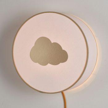 Lampe à poser ou à accrocher blanche nuage or