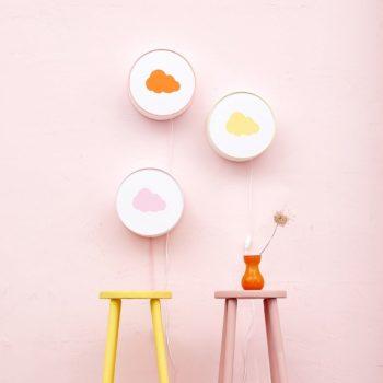 Lampe à poser ou à accrocher blanche nuage orange pastel