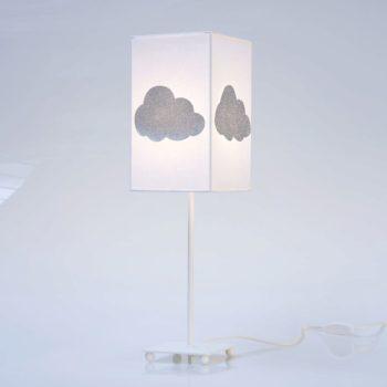 Lampe de chevet coton blanc nuage pailleté
