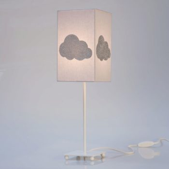 Lampe de chevet coton gris nuage argent pailleté