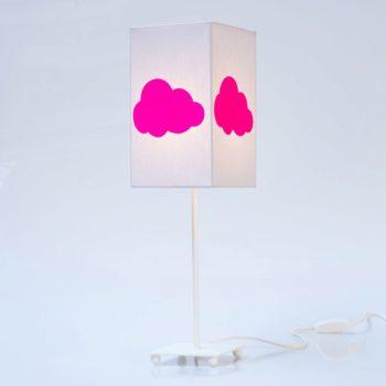 Lampe de chevet coton gris nuage fluo
