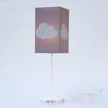 Lampe de chevet coton taupe nuage argent pailleté