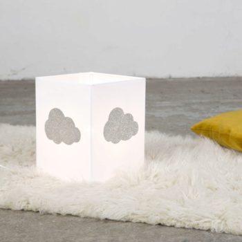 Lampe à poser coton blanc nuage pailleté