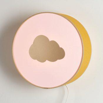 Applique moutarde et rose nuage or biais rose