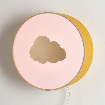 Lampe à poser ou à accrocher moutarde et rose nuage or