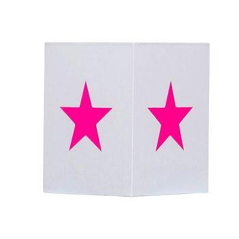 Plafonnier coton blanc étoile rose fluo