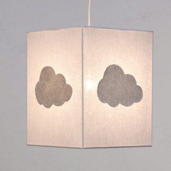 Plafonnier coton gris nuage argent pailleté