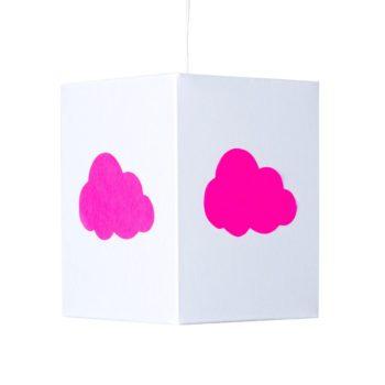 Plafonnier coton blanc nuage rose fluo