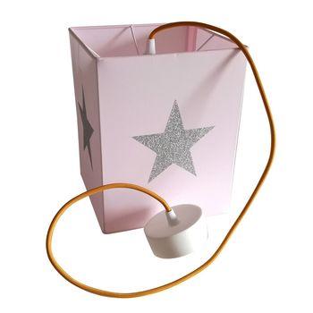Plafonnier coton rose pâle étoile argent