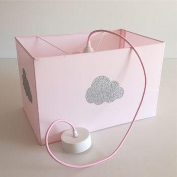 Plafonnier coton rose pâle nuage argent