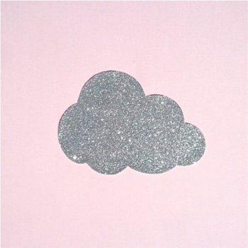 Lampe à poser coton rose pâle nuage argent pailleté