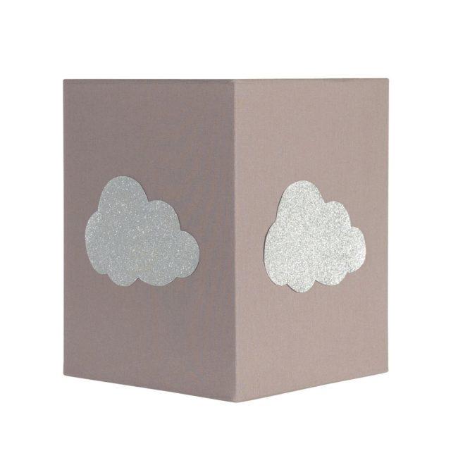 Lampadaire coton taupe nuage argent pailleté