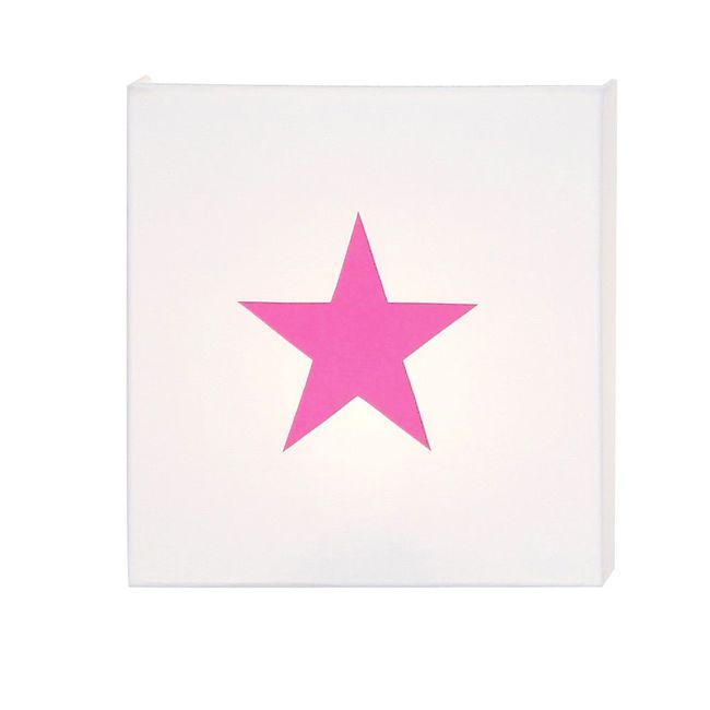 Applique coton blanc étoile rose fluo