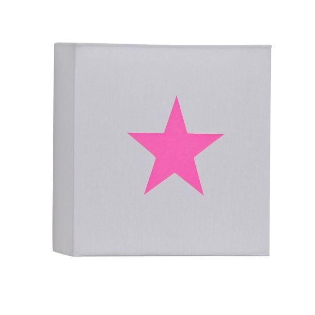 Applique coton gris étoile rose fluo