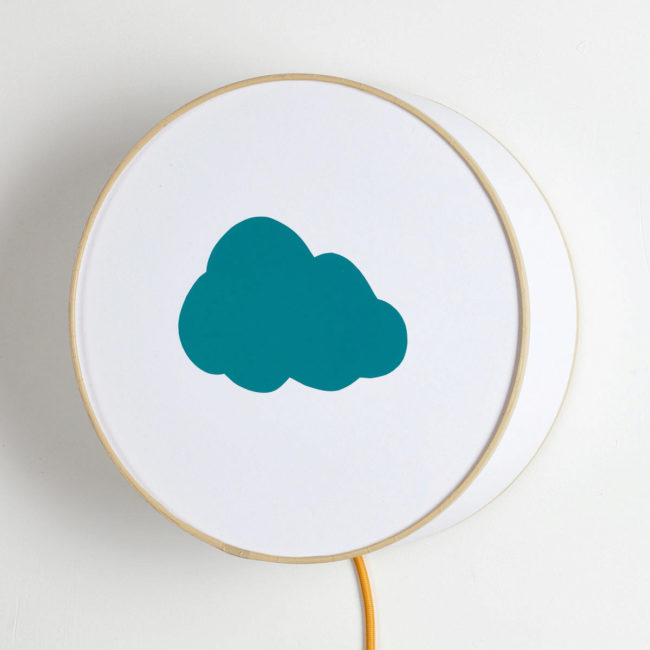 Applique blanche nuage bleu canard