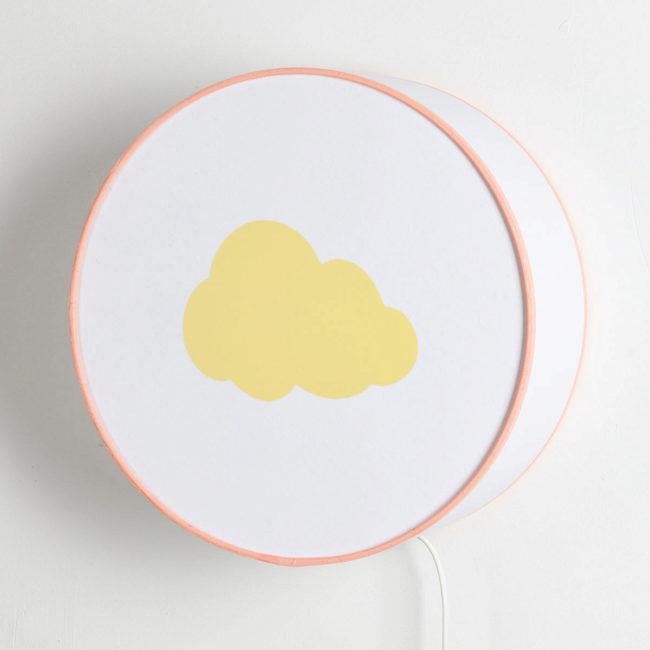 Applique blanche nuage jaune pastel
