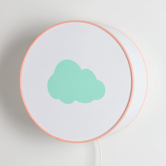 Applique blanche nuage vert pastel
