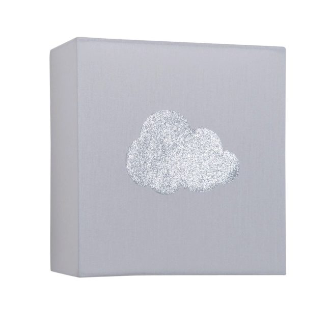 Applique coton gris nuage argent pailleté