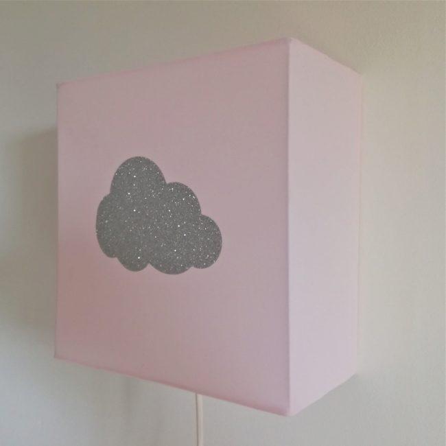 Applique coton rose pâle nuage argent pailleté