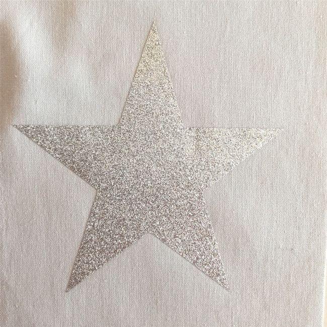 Plafonnier coton gris étoile argent pailletée