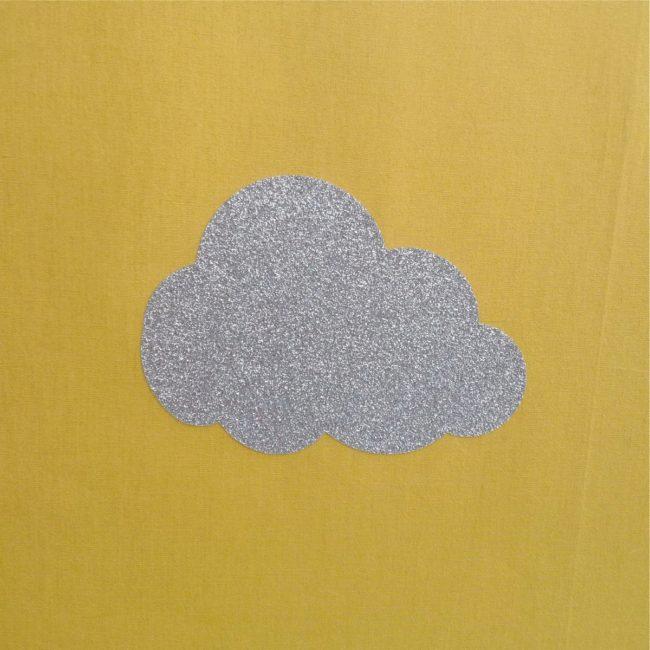 Lampe à poser nuage argent pailleté