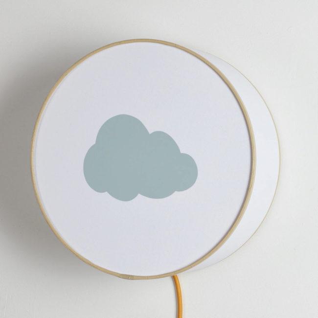 Lampe à poser ou à accrocher blanche nuage gris pastel