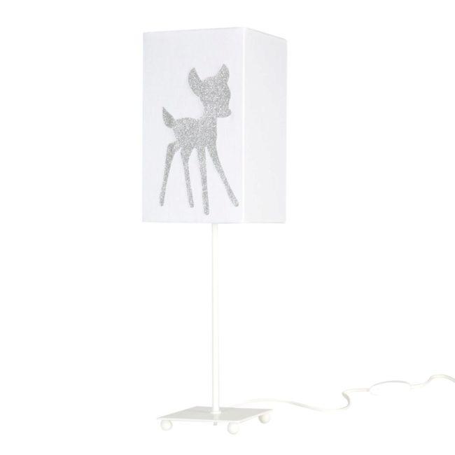 Lampe de chevet coton blanc faon pailleté