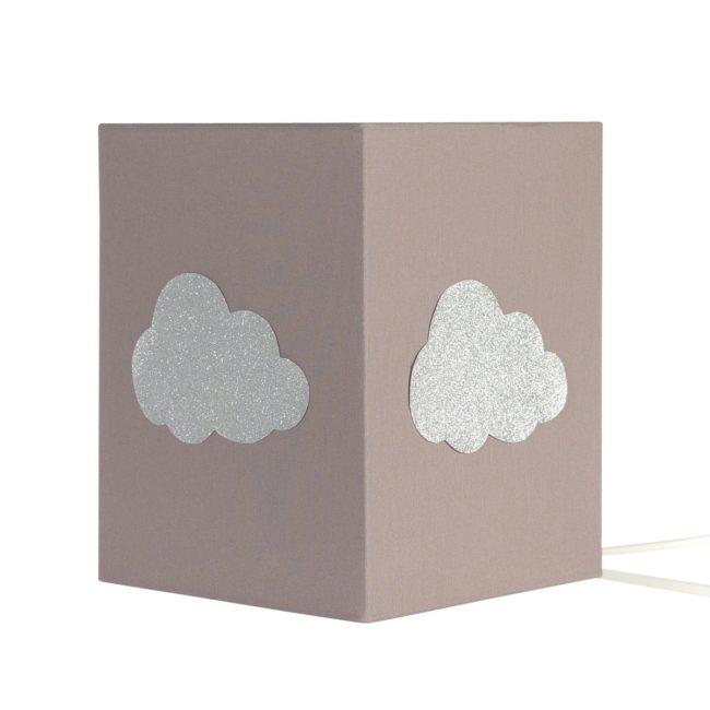 Lampe à poser coton taupe nuage argent pailleté