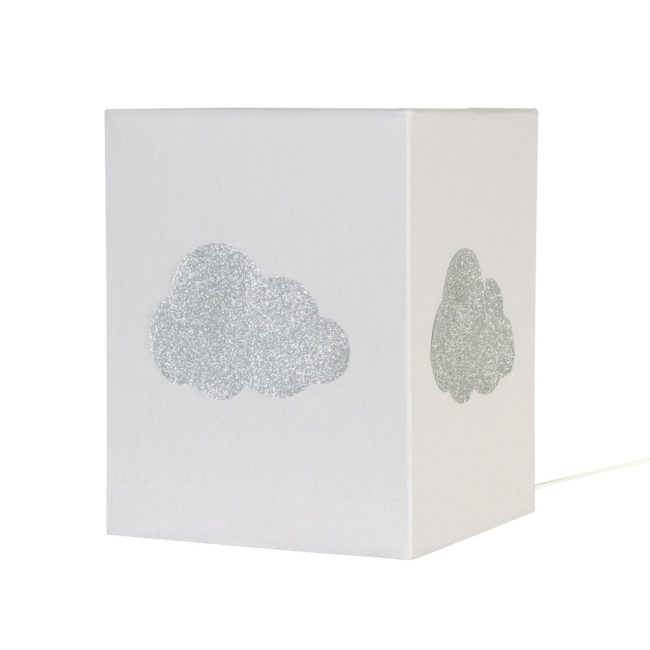 Lampe à poser coton gris nuage argent pailleté