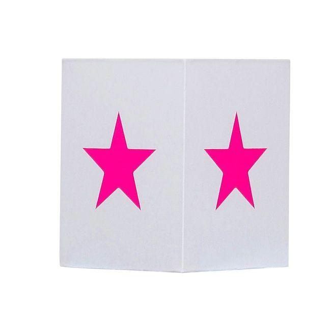 Lampadaire coton blanc étoile rose fluo