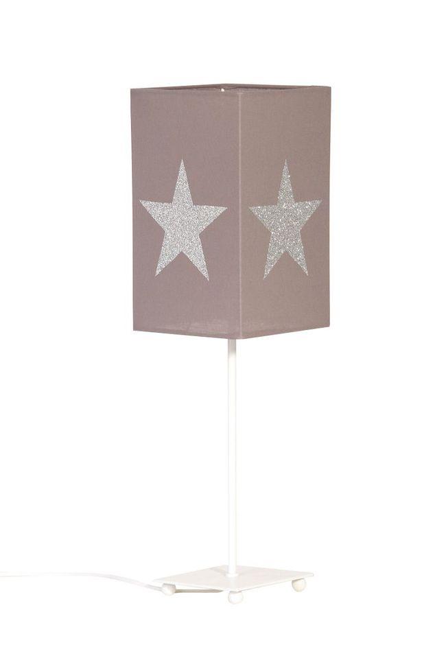 Lampe de chevet coton taupe étoile pailletée