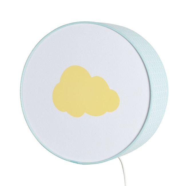 Lampe à poser ou à accrocher vagues bleu clair nuage jaune pastel