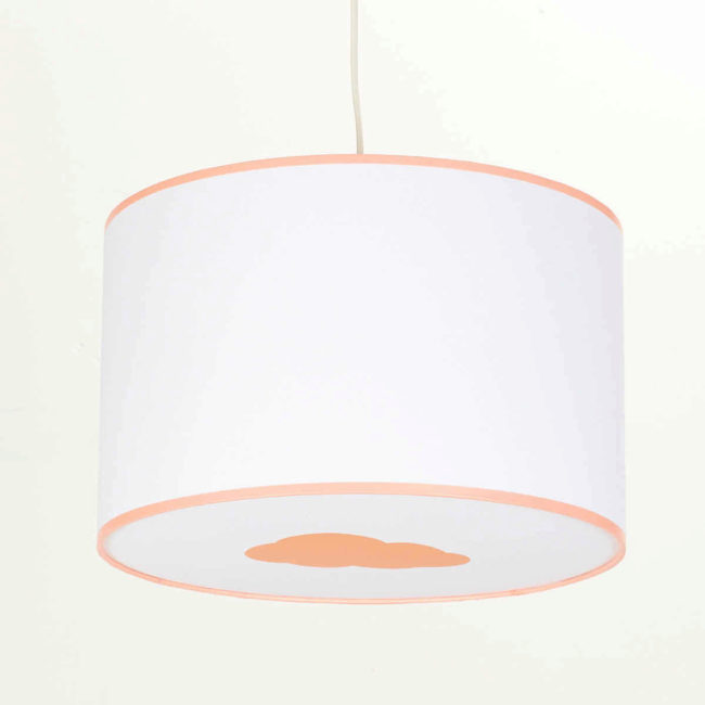 Plafonnier blanc nuage orange pastel
