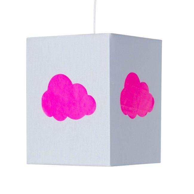Plafonnier coton gris nuage rose fluo