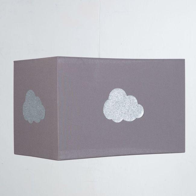 Plafonnier coton taupe nuage argent pailleté